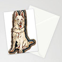 shepherd white dog blanc Stationery Cards