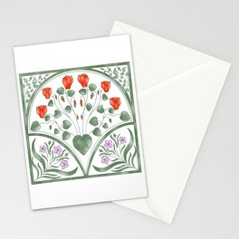 Cyclamen and Oleander illustration Stationery Cards