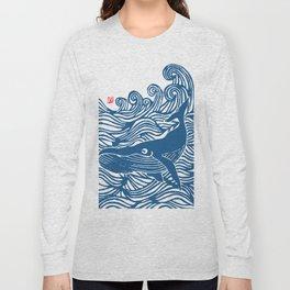 Japan Sea Whale Art Lino Long Sleeve T-shirt