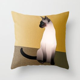 Portrait of a Seal Point Siamese Cat Throw Pillow