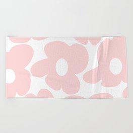 Large Baby Pink Retro Flowers on White Background #decor #society6 #buyart Beach Towel