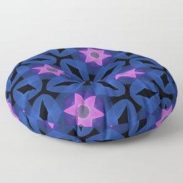 Six Pointed Pink Star on Indigo Floor Pillow