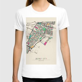 Colorful City Maps: Jersey City, New Jersey T-shirt