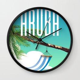 Aruba Hammock beach travel poster Wall Clock