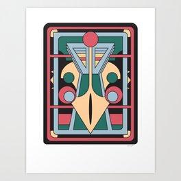 Pavo Totem - Art Deco Peacock Design Art Print