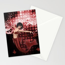 Red Mermaid Stationery Cards