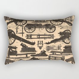Vintage Illustration of Cannons & Artillery (1907) Rectangular Pillow