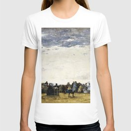 Eugene Louis Boudin - Vacationers On The Beach At Trouville - Digital Remastered Edition T-shirt