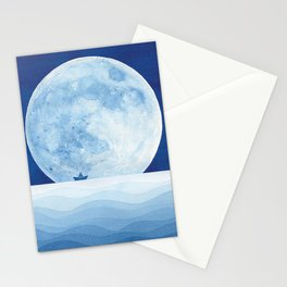Full moon & paper boat Stationery Cards