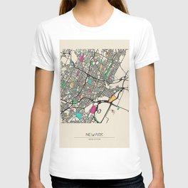 Colorful City Maps: Newark, New Jersey T-shirt