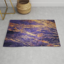Classic Vintage Purple Faux Marble With Gold Veins Rug