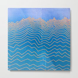 Abstract mountain line art in blue sky grunge textured vintage illustration background Metal Print