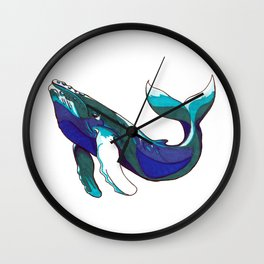 Whale in the sea Wall Clock