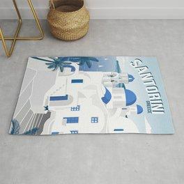 Vintage Santorini poster Rug