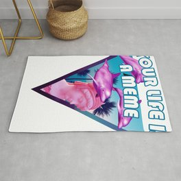Your Life is a Meme Vaporwave Statue with Palms and Dolphins design Rug