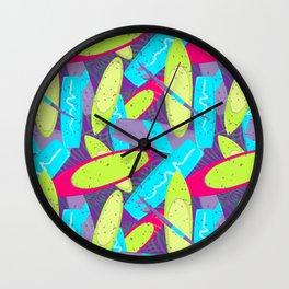 Surfboards Pattern Wall Clock