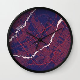 Laval, QC, Canada, Blue, White, City, Map Wall Clock