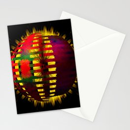 Red Layered Star in Golden Flames Stationery Cards