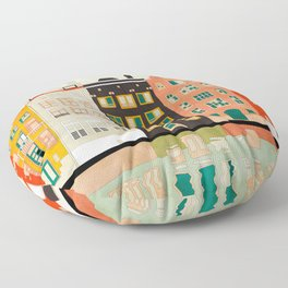 Travel europe city shape abstract art Floor Pillow