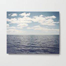 Dark Blue Ocean Seascape, Navy Sea Landscape Photography, Beach Clouds Horizon, Coastal Photo Metal Print