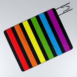Rainbow & Black colorful stripes Picnic Blanket