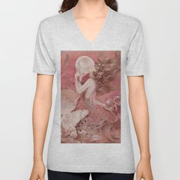 Mermaid with Pearl : Henry Clive Pink Peach Unisex V-Neck