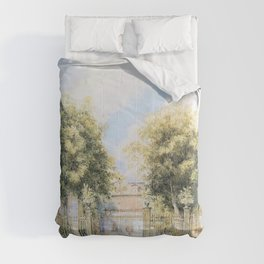 Franz Alt - View of a Biedermeier house, people promenading in front of it - Digital Remastered Edition Comforters