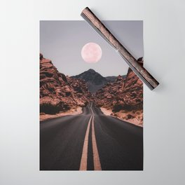 Road Red Moon Wrapping Paper