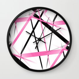 Criss Crossed Pink and Black Stripes on White Wall Clock