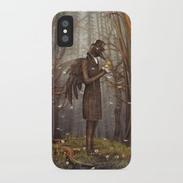 Raven in forest iPhone Case