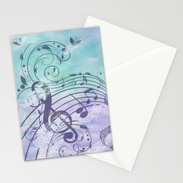 Music Notes Flutter Stationery Cards