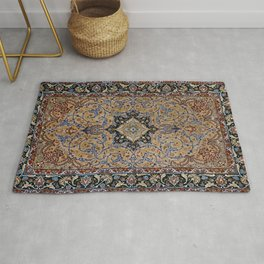 Central Persia Isfahan Old Century Authentic Colorful Golden Yellow Blue Vintage Patterns Rug