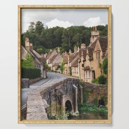 A famous street in Castle Combe, UK Serving Tray