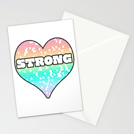 Pastel Strong Mosaic  Filled Heart Graphic Design Stationery Cards