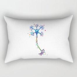 Motor Neuron Art Brain Cell Anatomy Art Colorful Blue Purple Watercolor Medical Science Art Rectangular Pillow