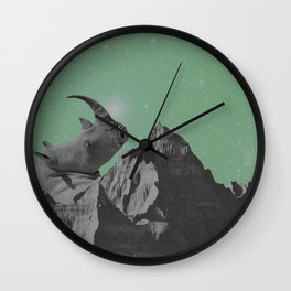Rhino Mountain mint Wall Clock