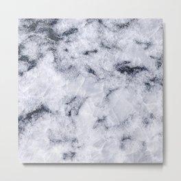 Crystal White Marble Metal Print