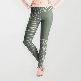 Line Drawing, Green, Palms Print, Boho Wall Art Leggings