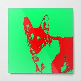 red Mitzi on green Metal Print