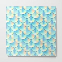 Teal Green Mermaid Pattern, Holographic Fish Scale Print Metal Print