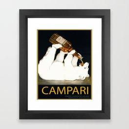 Vintage 1928 Campari Polar Bear Alcoholic Bitters Advertisement by Franz Laskoff Framed Art Print