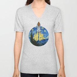 Starry Space Shuttle Unisex V-Neck