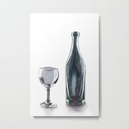 Bottle and Glass Metal Print