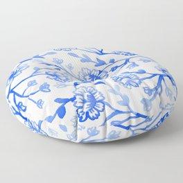 Watercolor Peonies - China Blue Floor Pillow