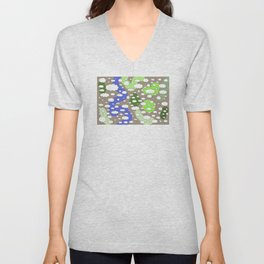 Plane view of the earth with little clouds of caricatures Unisex V-Neck