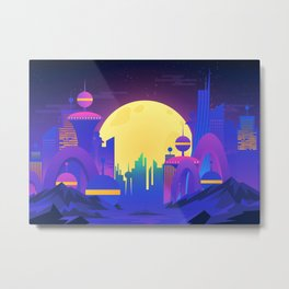Synthwave Neon City #13 Metal Print