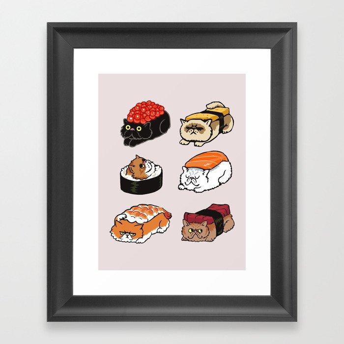 Sushi Persian Cat Gerahmter Kunstdruck