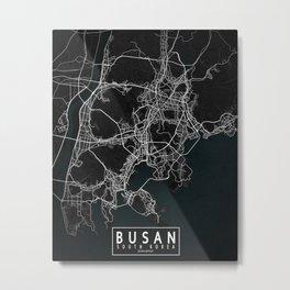 Busan City Map of South Korea - Dark Metal Print