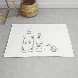 Gin tonic and lime illustration Rug