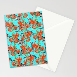 Tigers and Tiger Lilies (Blue Background) Stationery Cards